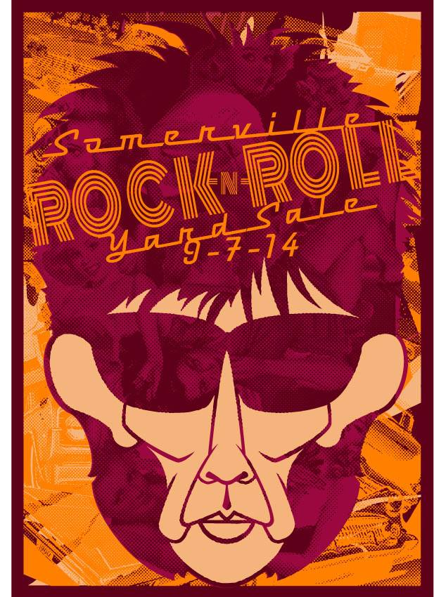 Sunday 7th September 2014 Somerville Rock And Roll Yard Sale Ric Ocasek of the Cars Poster Design by Swampyankee Uncle Pete