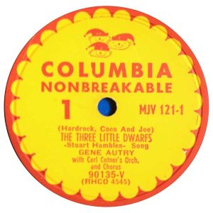 get gene autry the three little dwarfs 78rpm christmas record with picture sleeve from what cheer in providence (label)